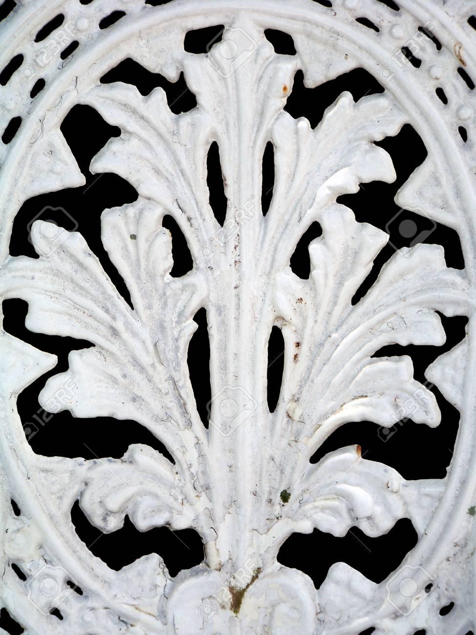 Aislado Textura Blanco Metálico De Una Silla Con Forma De Hoja Como ...
