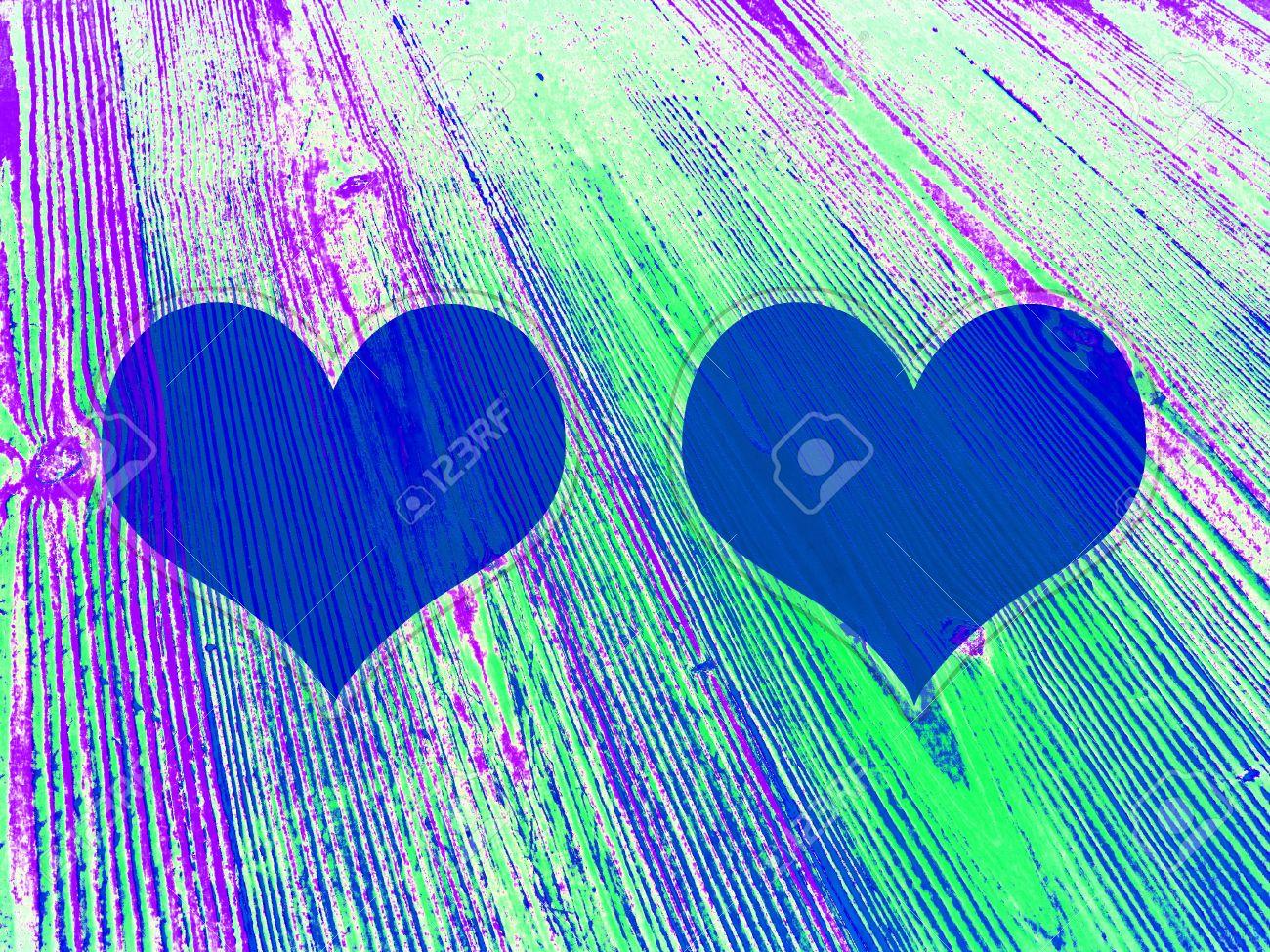 Dos Corazones Azules En Rayas Menores Fosforescente Madera Vieja