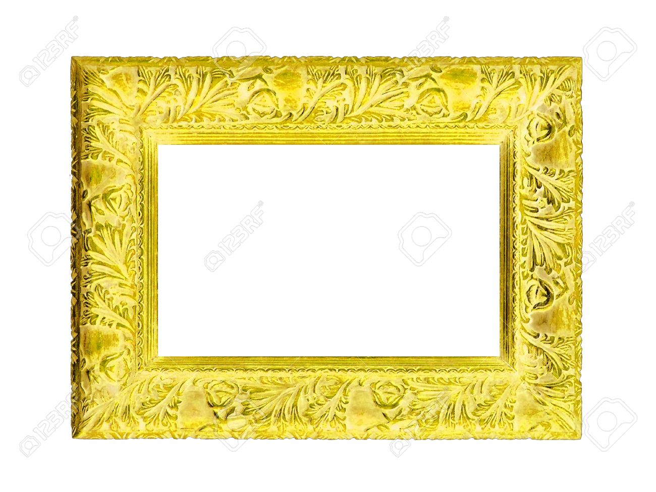 brilliant yellow frame of antique carved wood design isolated on white stock photo 12126867