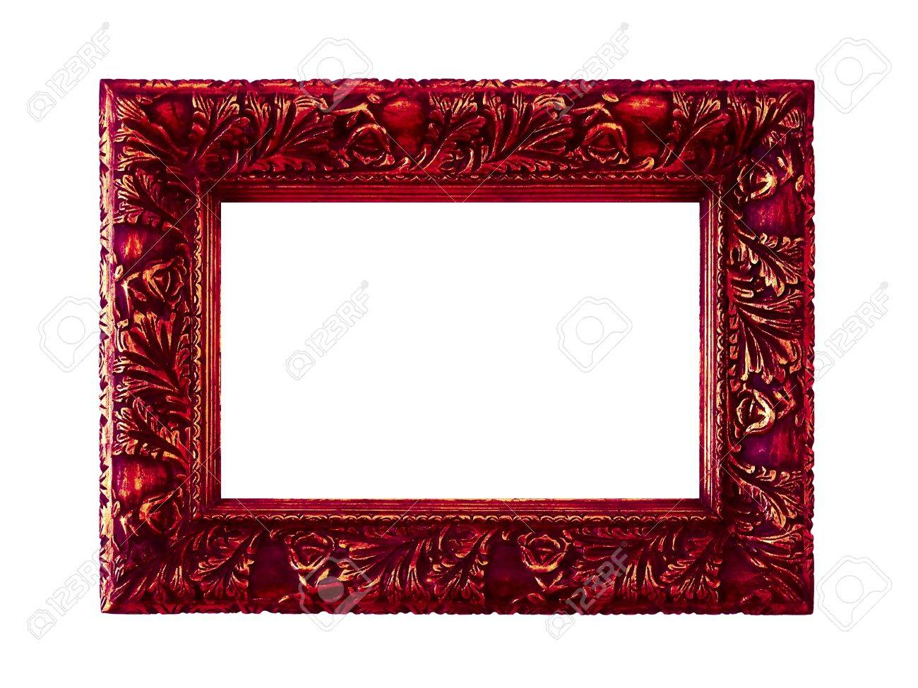 dark red vintage frame isolated on white stock photo 12126841