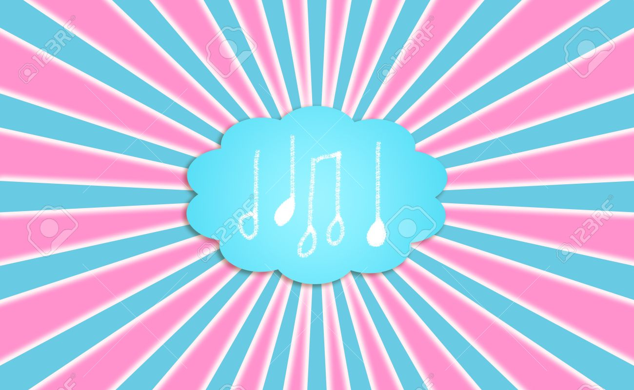 Funky background with musical notes in a dreaming bubble balloon Stock Photo - 12426991