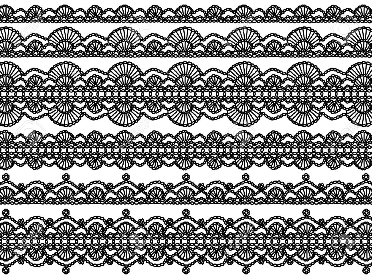 Black And White Elegant Background Of Crochet Laces With Waves ...