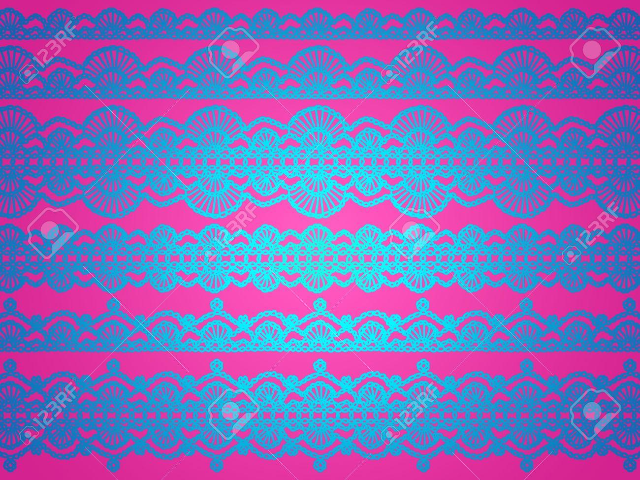 Brillante Brillante Seda Azul Patrón De Crochet Sobre Fondo Rosa ...