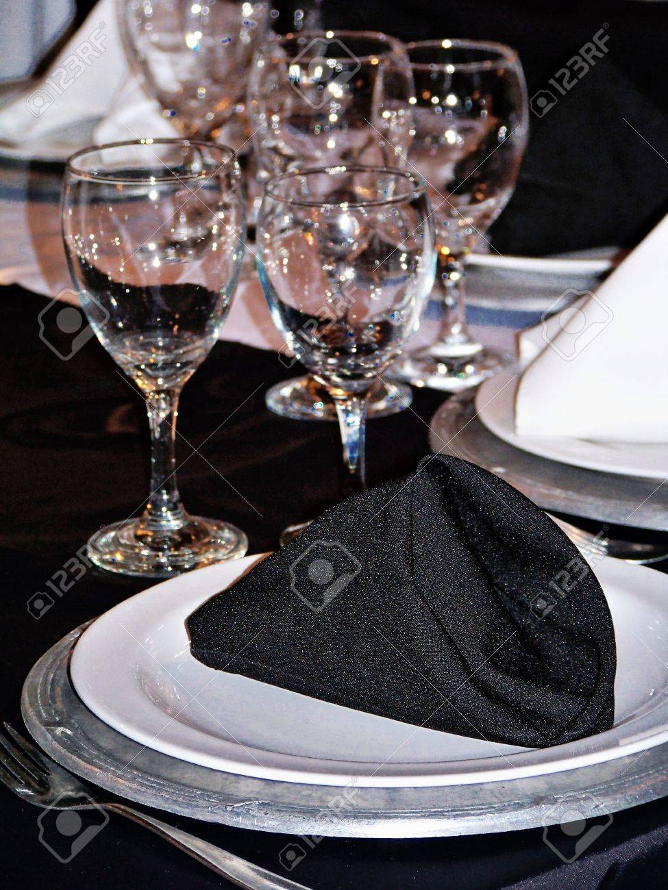 Elegance for party celebration dinner in silver, black and white Stock Photo - 12622520