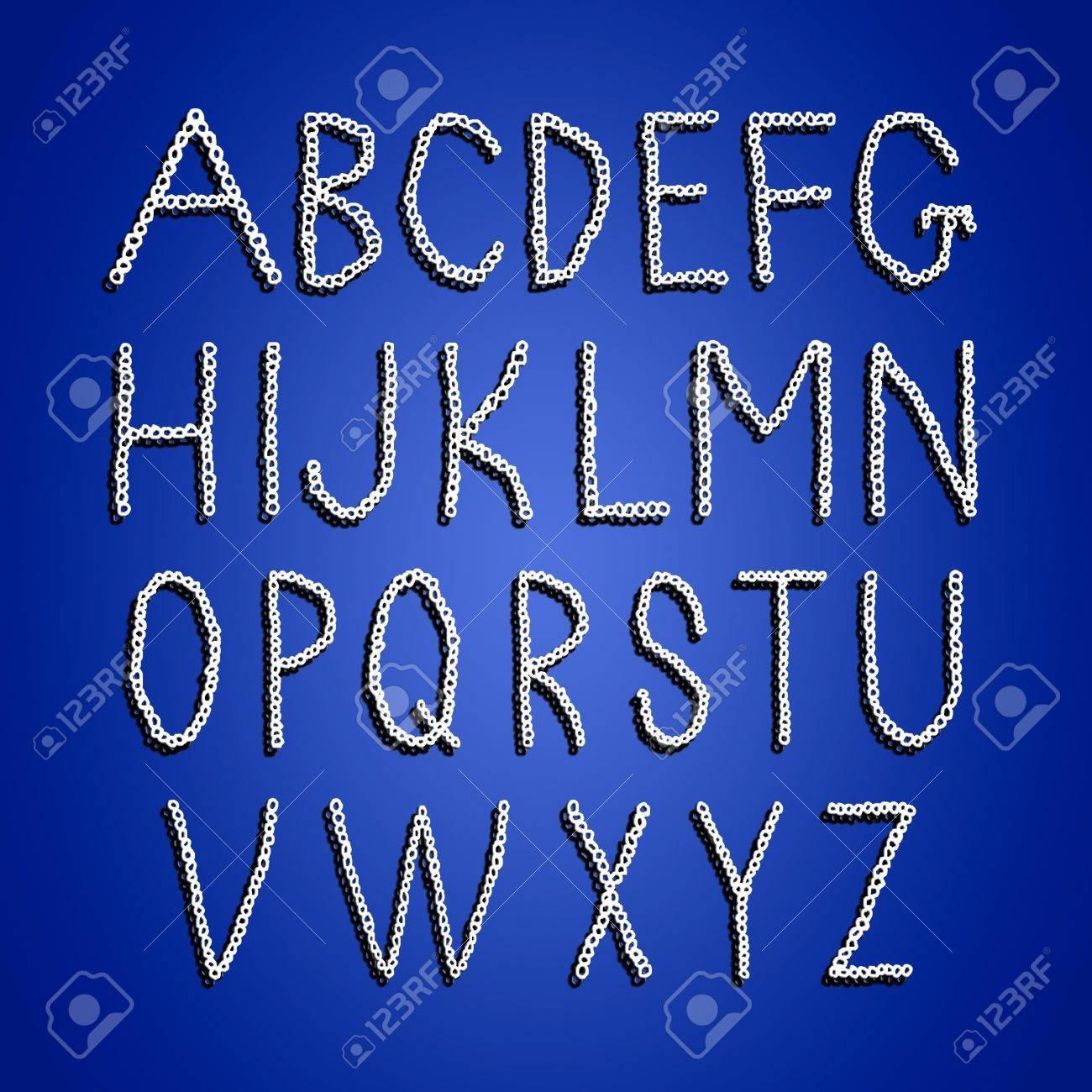 Häkeln Alphabet Buchstaben Isoliert In Weiß über Blau Lizenzfreie ...
