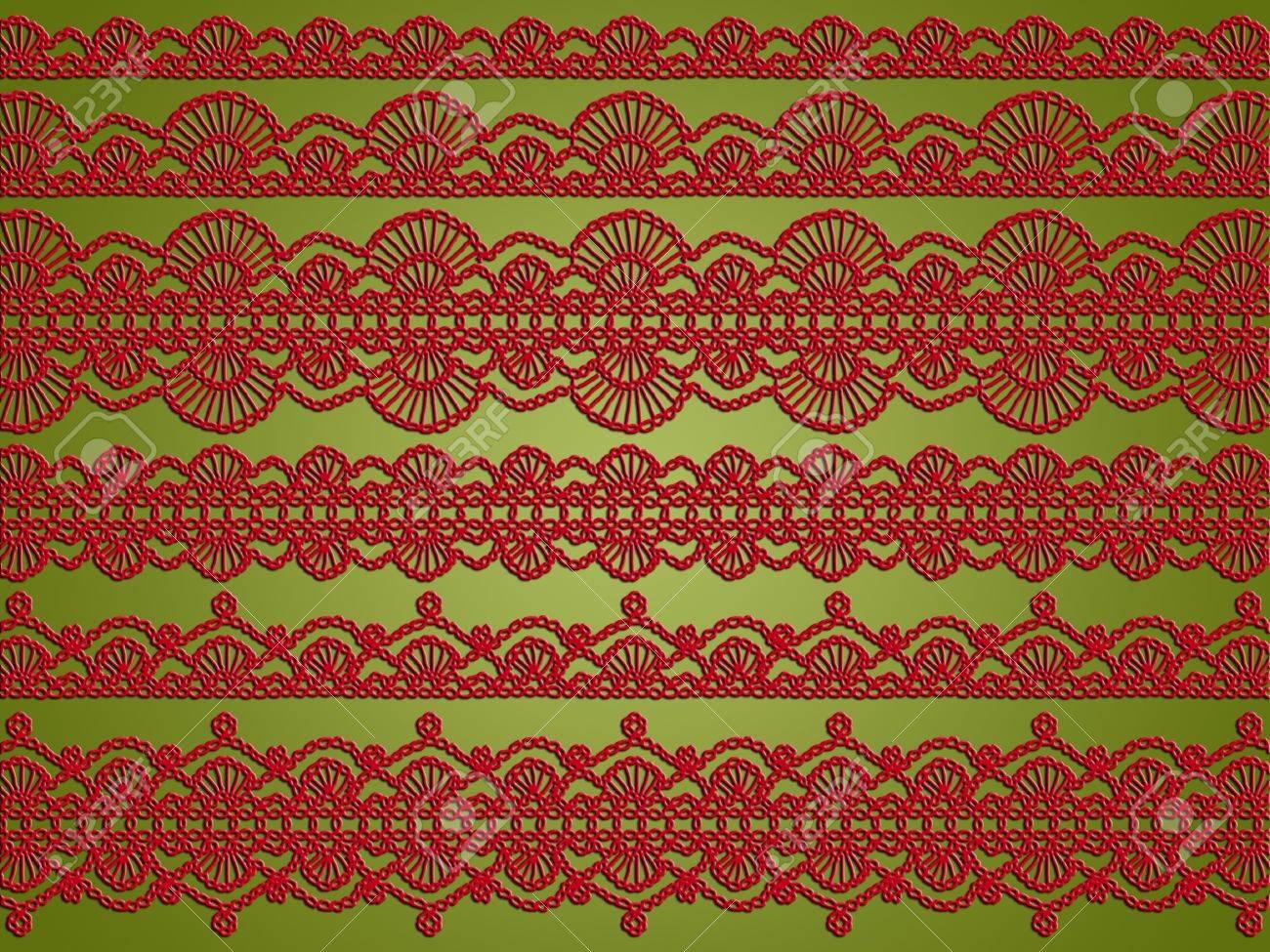 Licht Olivgrün Hintergrund Mit Roten Vielzahl Von Häkeln Spitzen ...