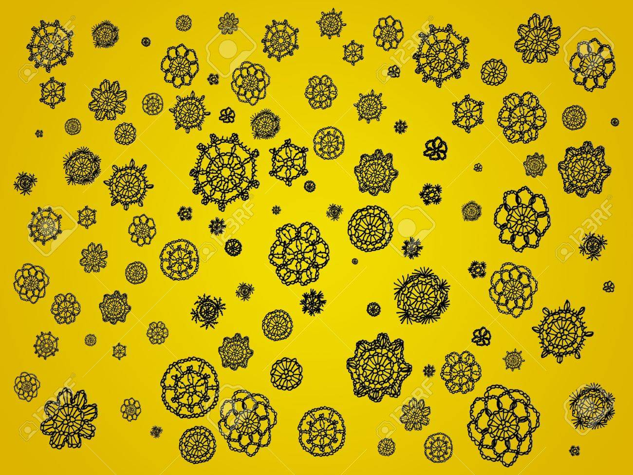 Yellow backdrop with black crochet details as spots Stock Photo - 12623322