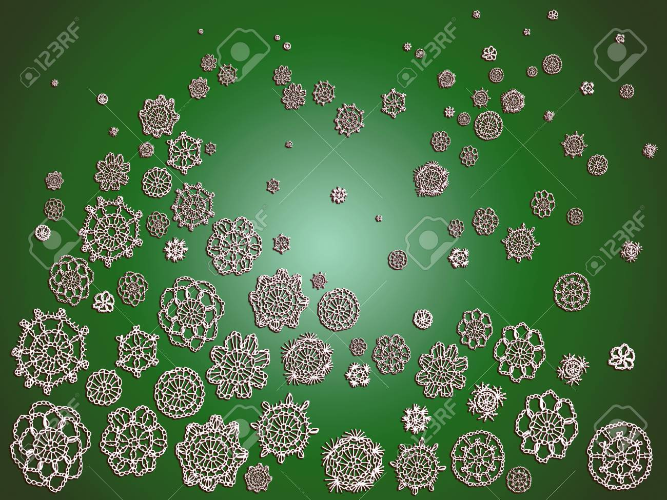 Green Christmas romantic background with crochet Stock Photo - 12622769