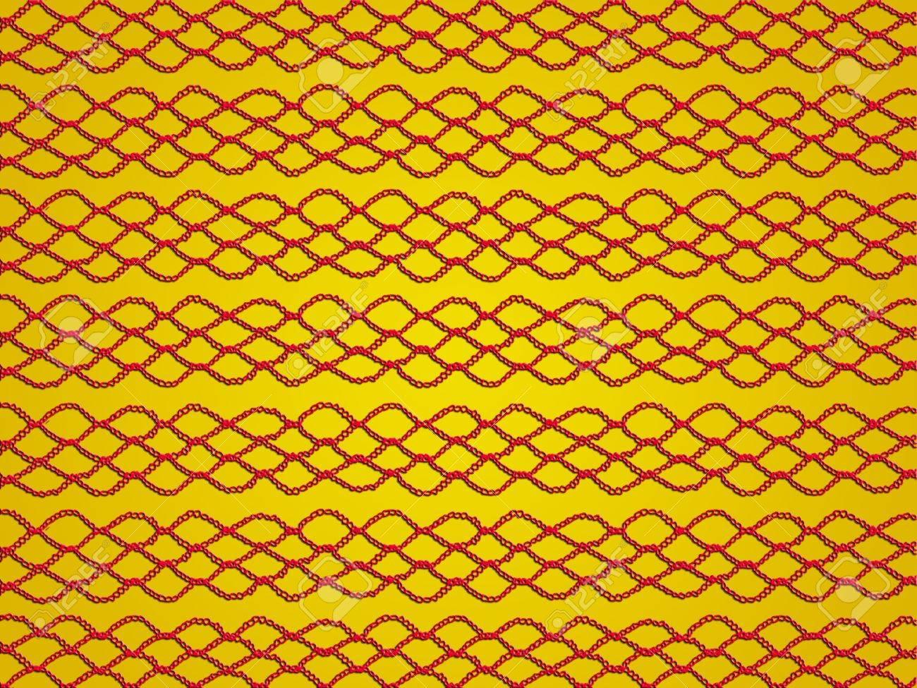 Einfache Rote Schnürsenkel Häkeln Muster Auf Goldgelben Hintergrund