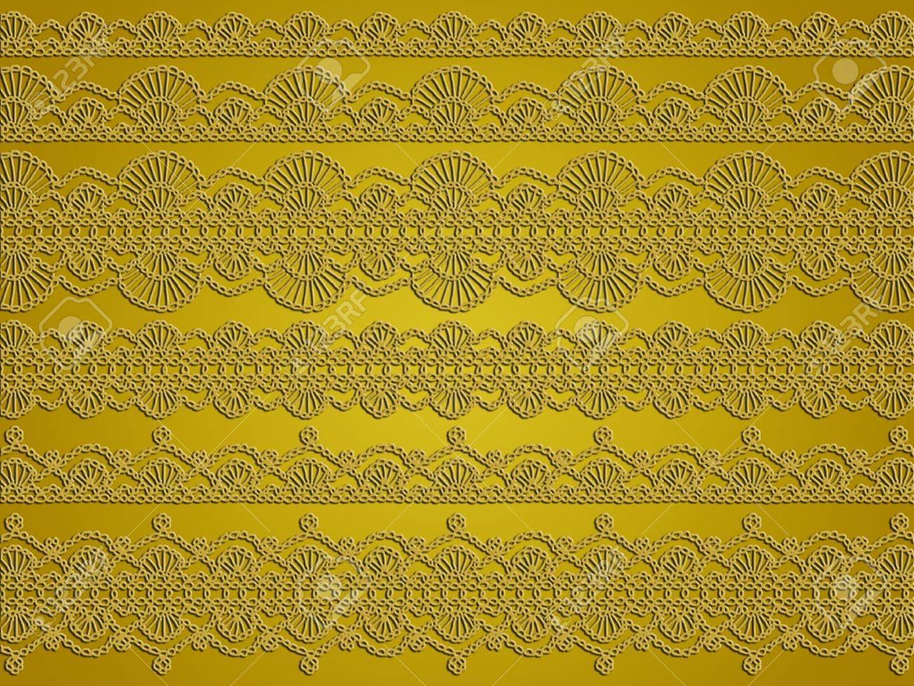 Antique Häkeln Spitzen Muster Im Goldgrund Lizenzfreie Fotos, Bilder ...