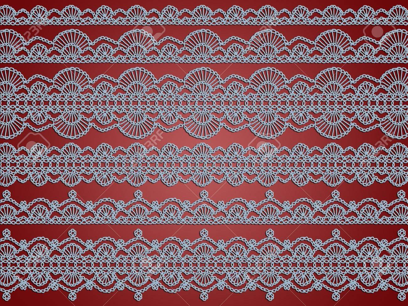Elegantes Encajes De Luz Azul Patrones De Crochet Sobre Fondo De ...