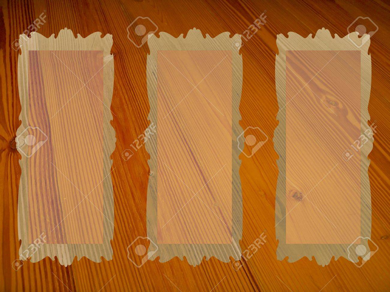 Three Rectangular Frames With Transparency Over Old Wood Background ...