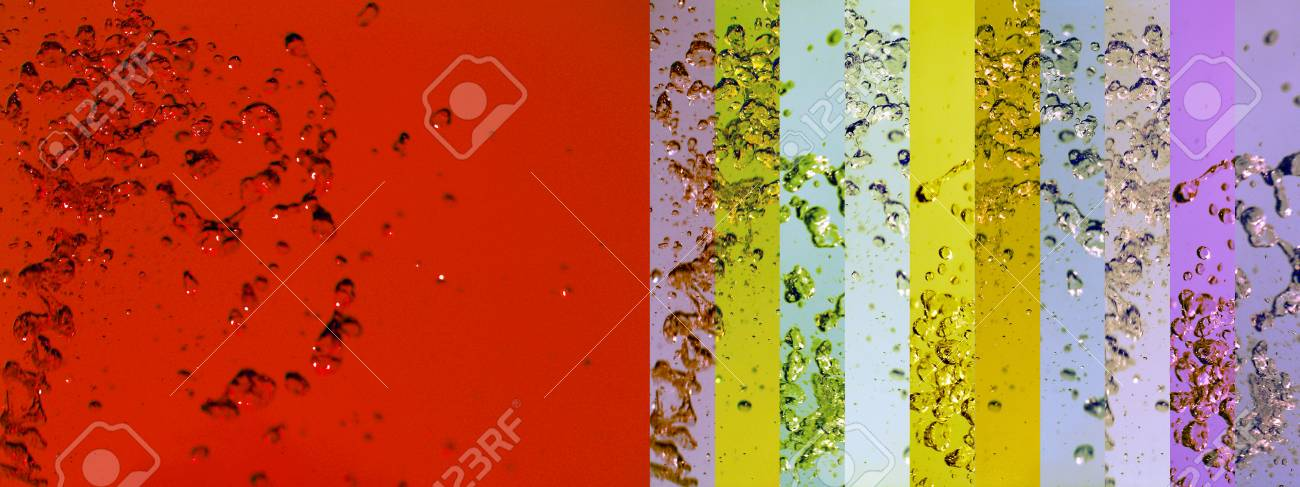Red background with multicolored waters in banners Stock Photo - 12807888