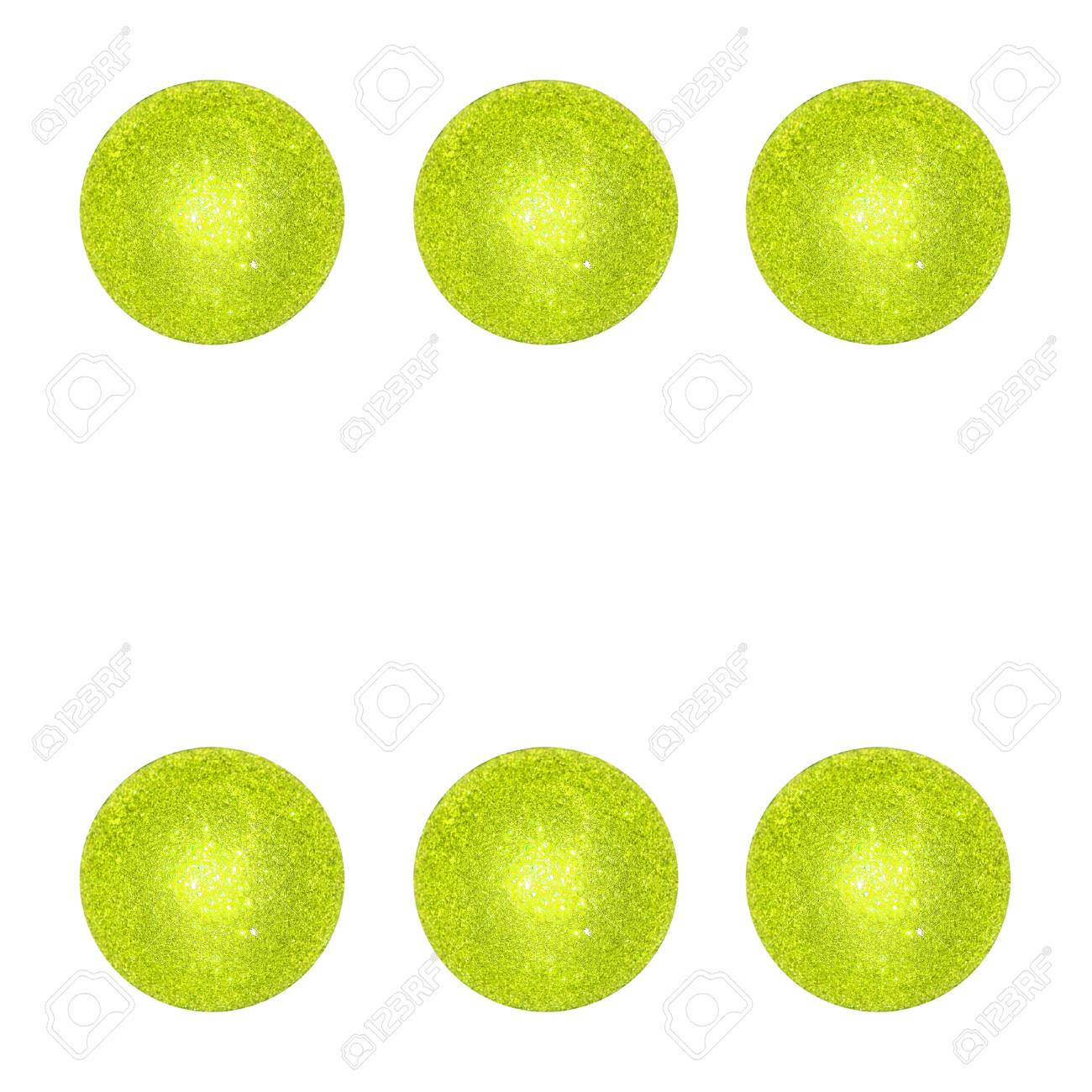 Six light green circular xmas bubbles spheres isolated over white Stock Photo - 12998476