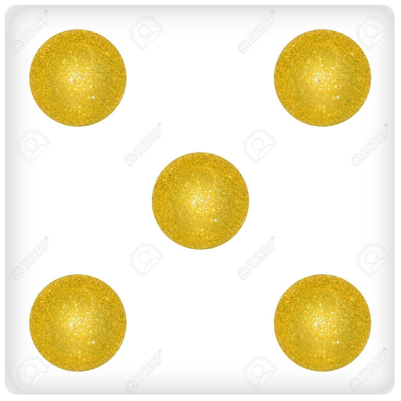 Five, gold, golden, balls, ball, xmas, festive, dice Stock Photo - 13114320