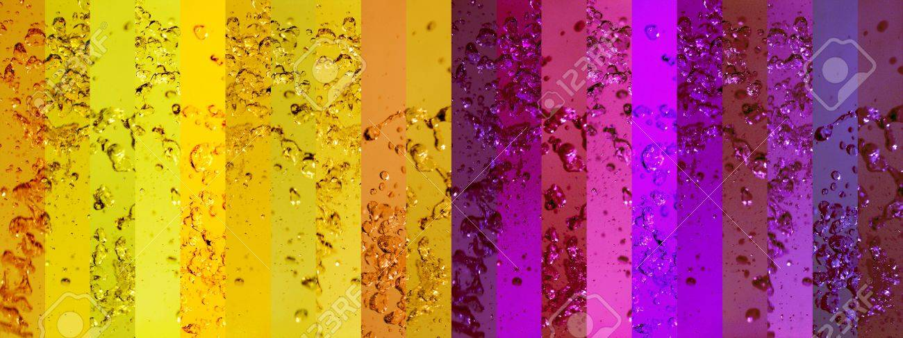 Yellow and purple banners or stripes in a long background with water splashing drops Stock Photo - 13385786