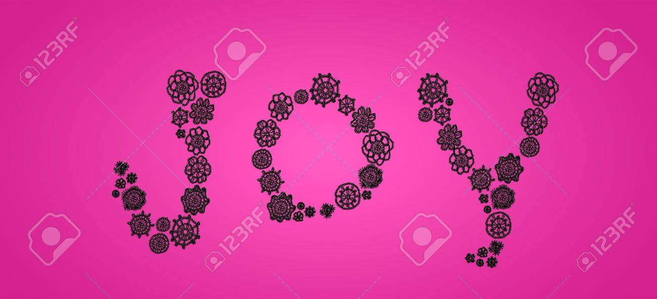 Joy in black crochet laces isolated over intense pink background Stock Photo - 13385641