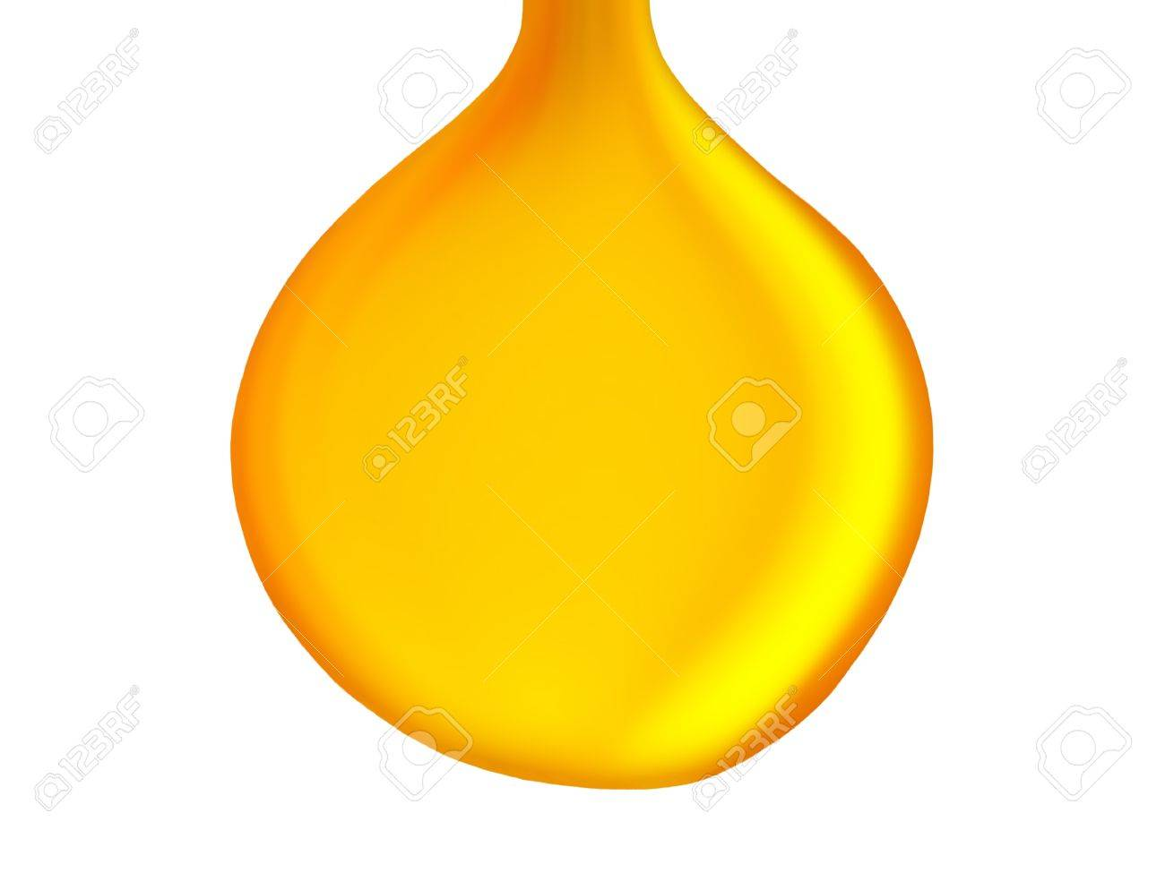 Big gold yellow drop of oil isolated on white background Stock Photo - 13524953