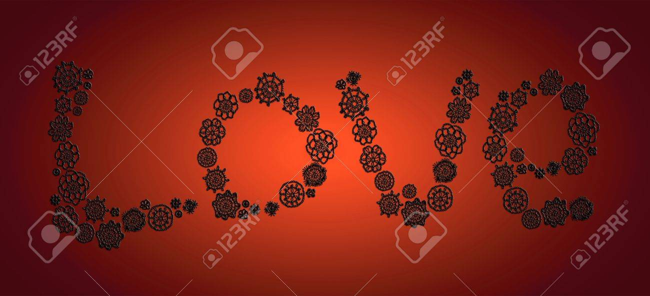 Black Love Elegant Word In Transparent Crochet Over Red Xmas Background