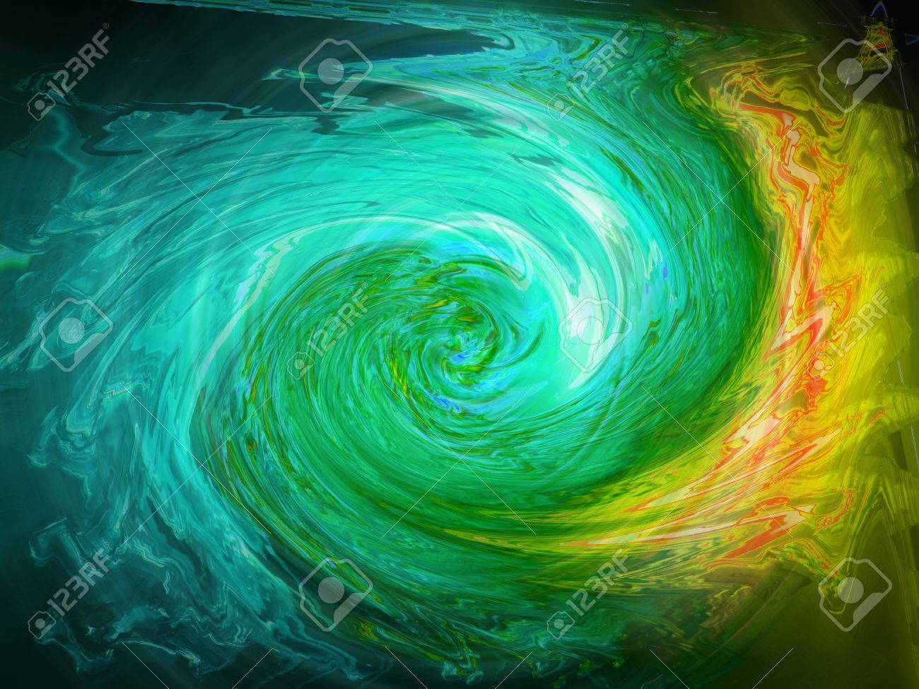 Blue aqua and yellow orange coloured waters swirl in abstract background Stock Photo - 13792358