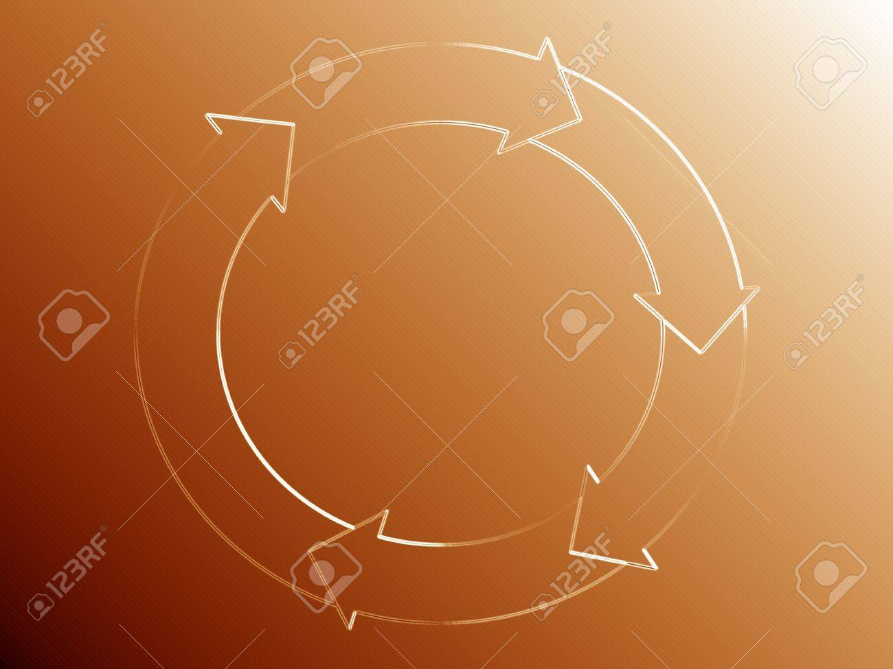 Subtle flow diagram of a circle with arrows over orange golden background Stock Photo - 13792439