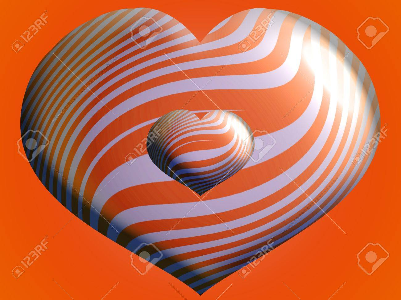 stock photo two brilliant hearts striped balloons over orange