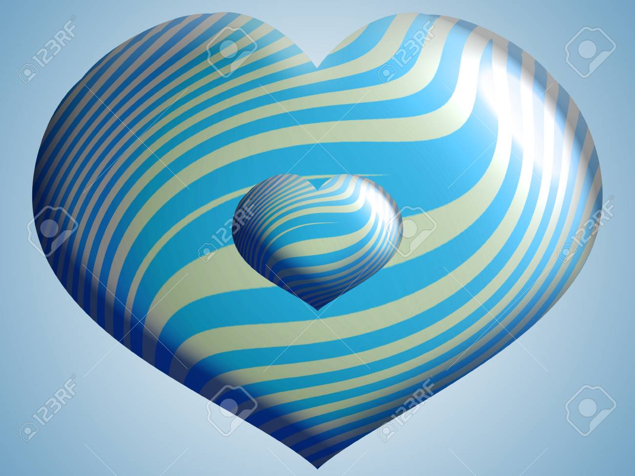 Couple of blue hearts strped metal balloon over the sky Stock Photo - 13792455