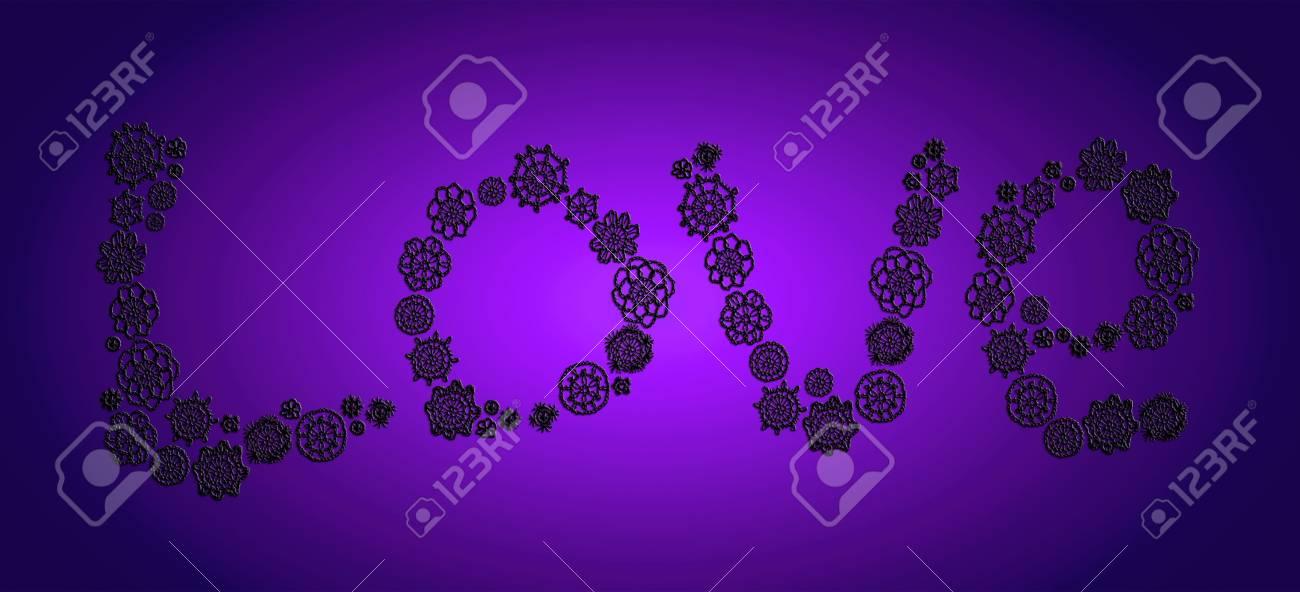 Love in black crochet over indigo blue Stock Photo - 13826544