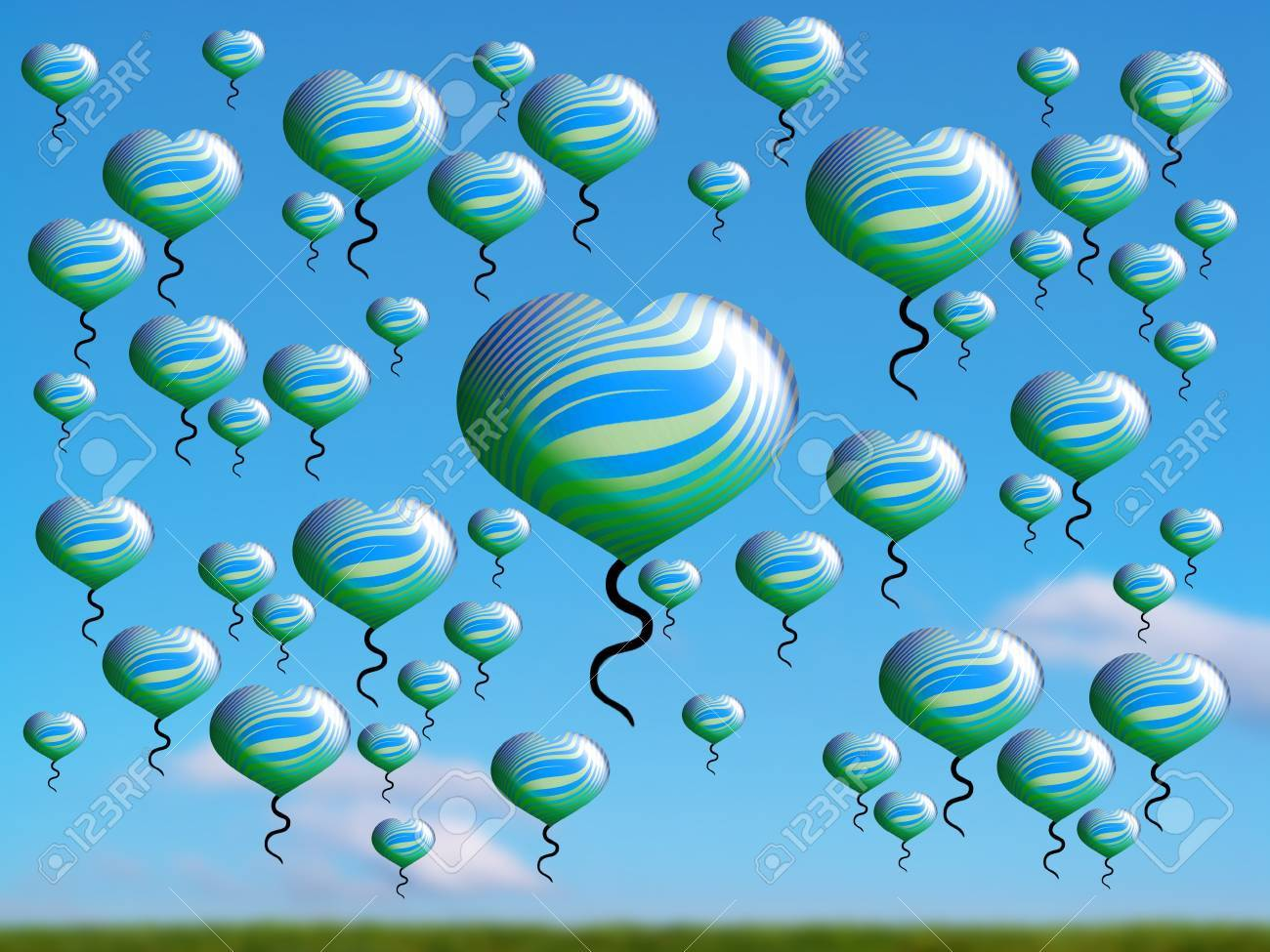 Flying balloons over a field in blue clear sky Stock Photo - 15750165