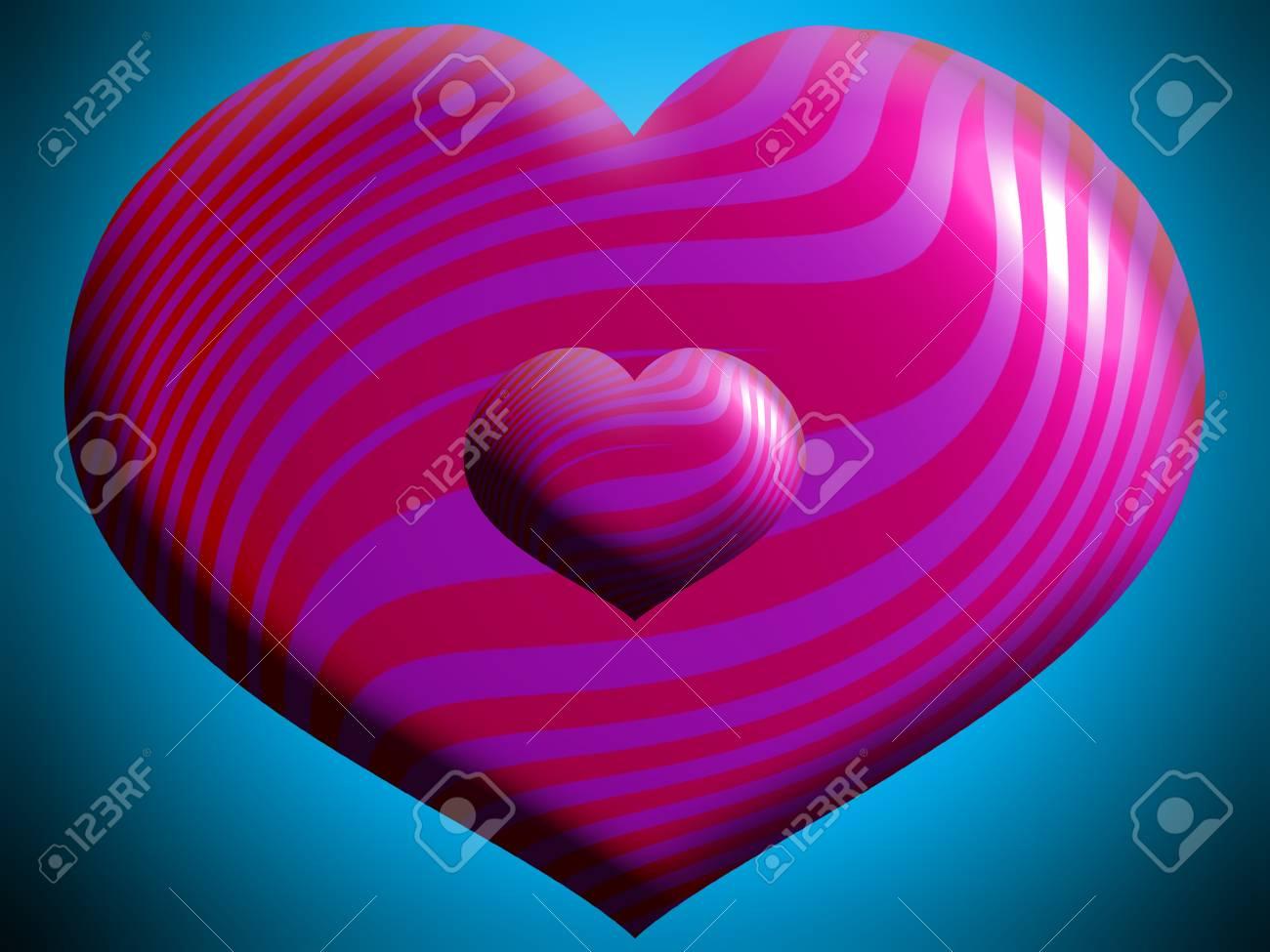Pink Corazones Grandes Y Pequeños Sobre Azul Fotos Retratos