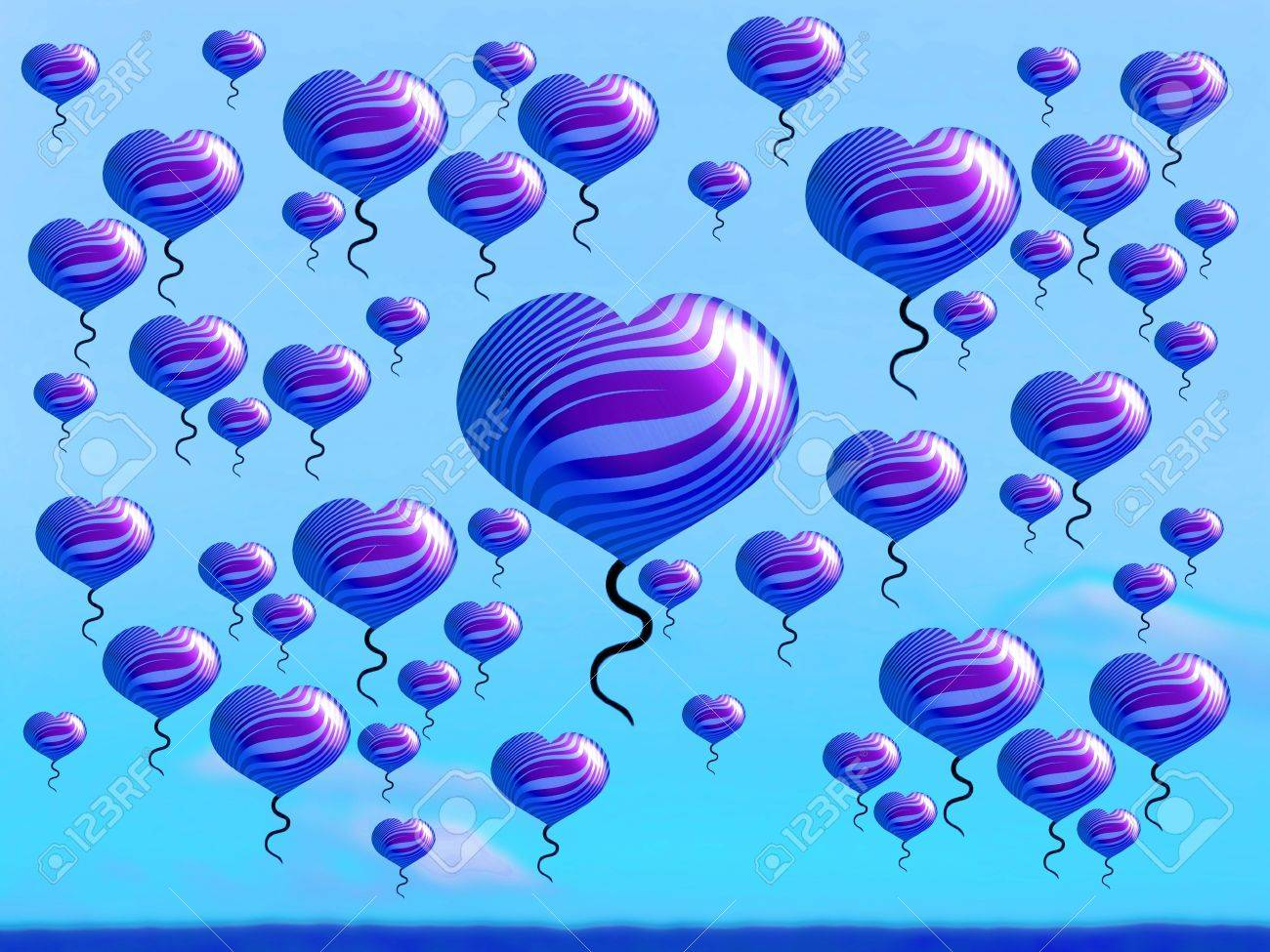 Fantasy landscape with heart balloons covering the sky Stock Photo - 16856640