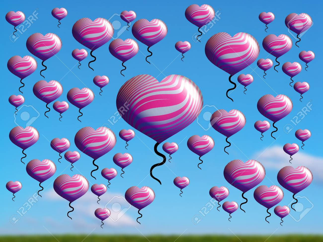Pink valentines hearts flying over country in a bright day Stock Photo - 17073505