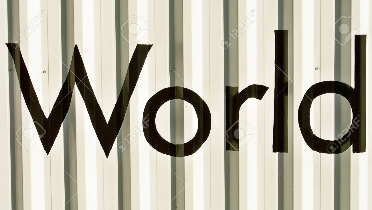 Black word world on a white wall Stock Photo - 17224766