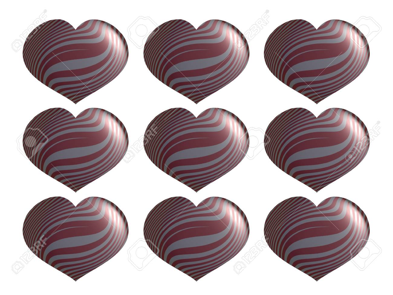 Set of Valentines metallized hearts isolated on white background Stock Photo - 17508732
