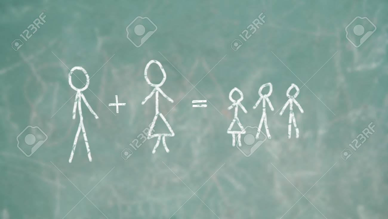 Learning family concept in school blackboard Stock Photo - 18587797