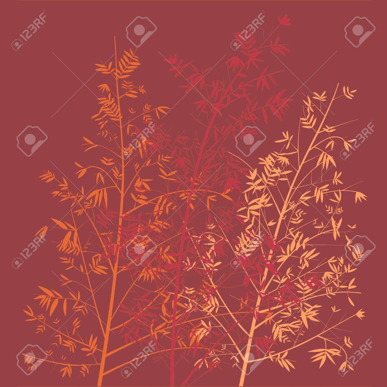 あたたかみのある地味な赤とオレンジ色の竹の森のイラスト背景