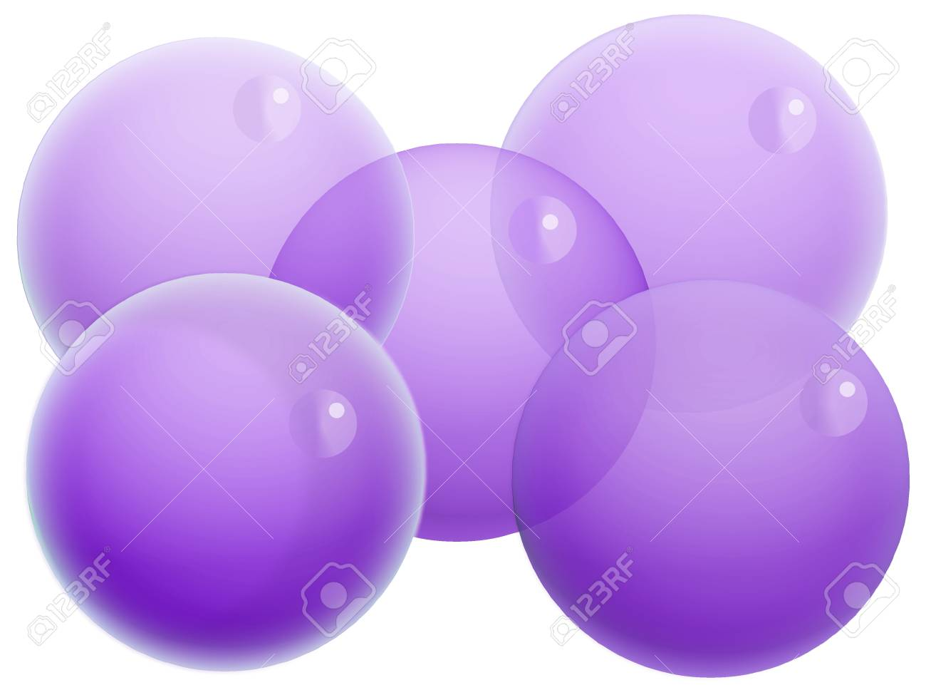 Five violet transparent balls of bubbles isolated on white Stock Photo - 20652415