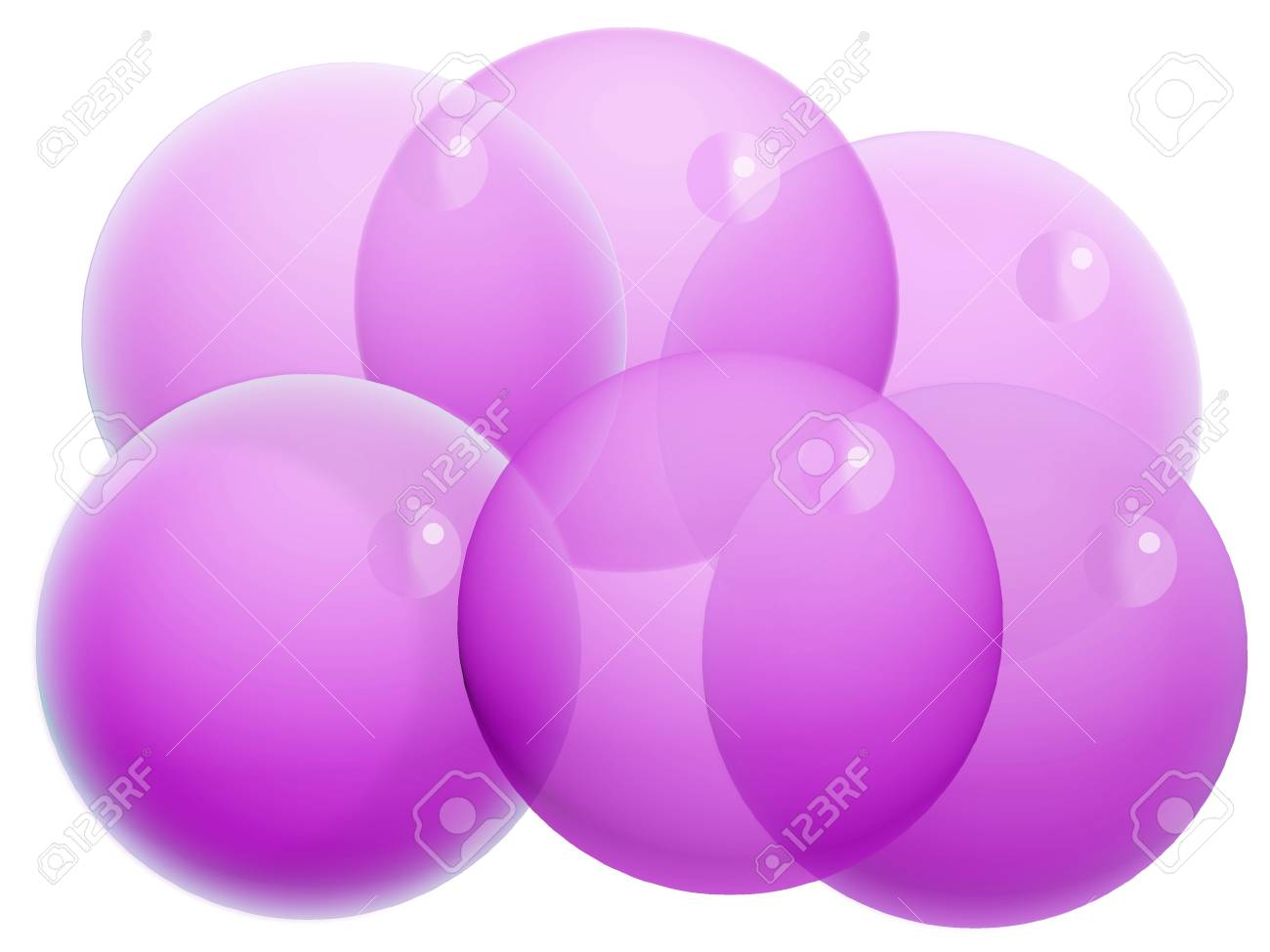 Six purple xmas transparent balls of bubbles isolated on white Stock Photo - 20652425