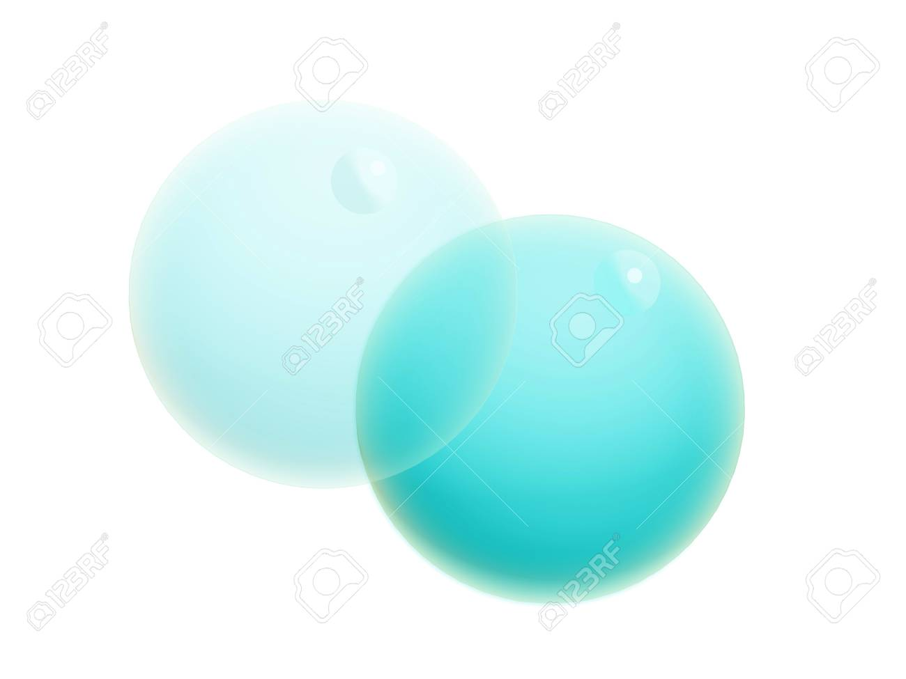 Two cyan blue transparent water bubbles isolated on white Stock Photo - 20652325