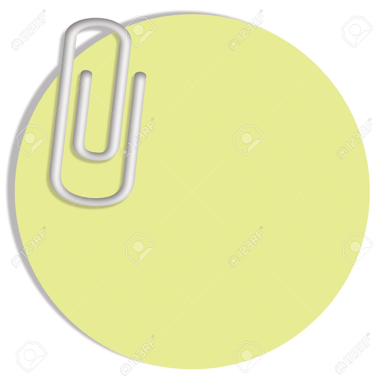 pale green blank circular post it notes paper with a clip isolate