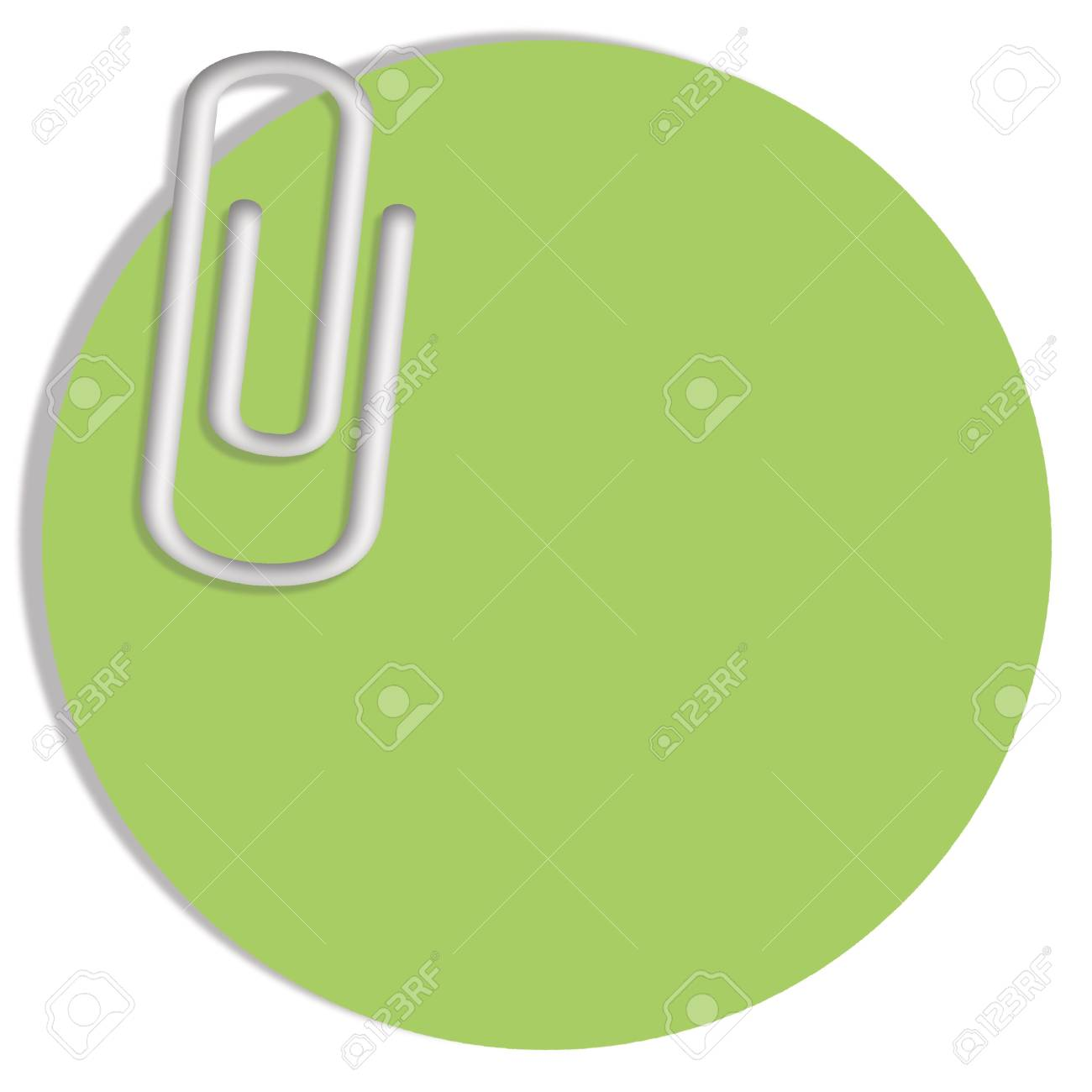 light green circular paper note with a clip with copy space stock