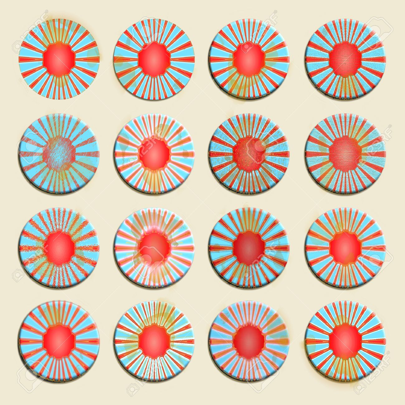 Vintage circular badges set in red blue and white Stock Photo - 24380705