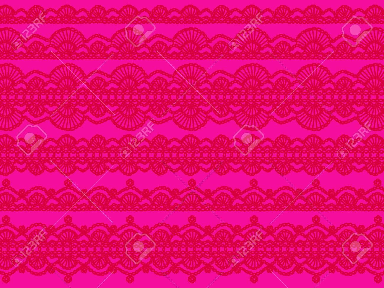 Brilliant Rosa Hintergrund Mit Roten Häkeln Feminine Muster ...