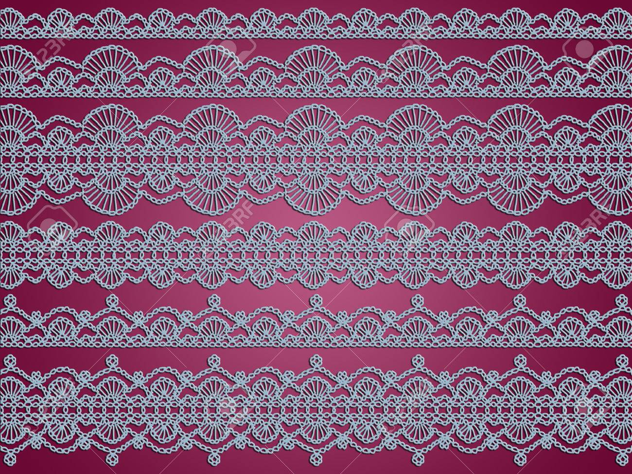 Light Blue Lingerie Crochet Laces On Purple Background Stock Photo