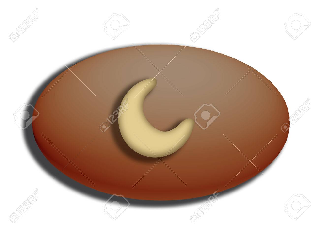 Dark chocolate oval candy with cashew nut on top Stock Photo - 25151898