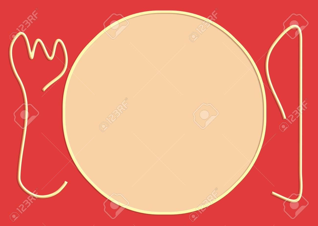 Immagini Stock Semplice Rosa Illustrazione Piastra Su Sfondo Rosso