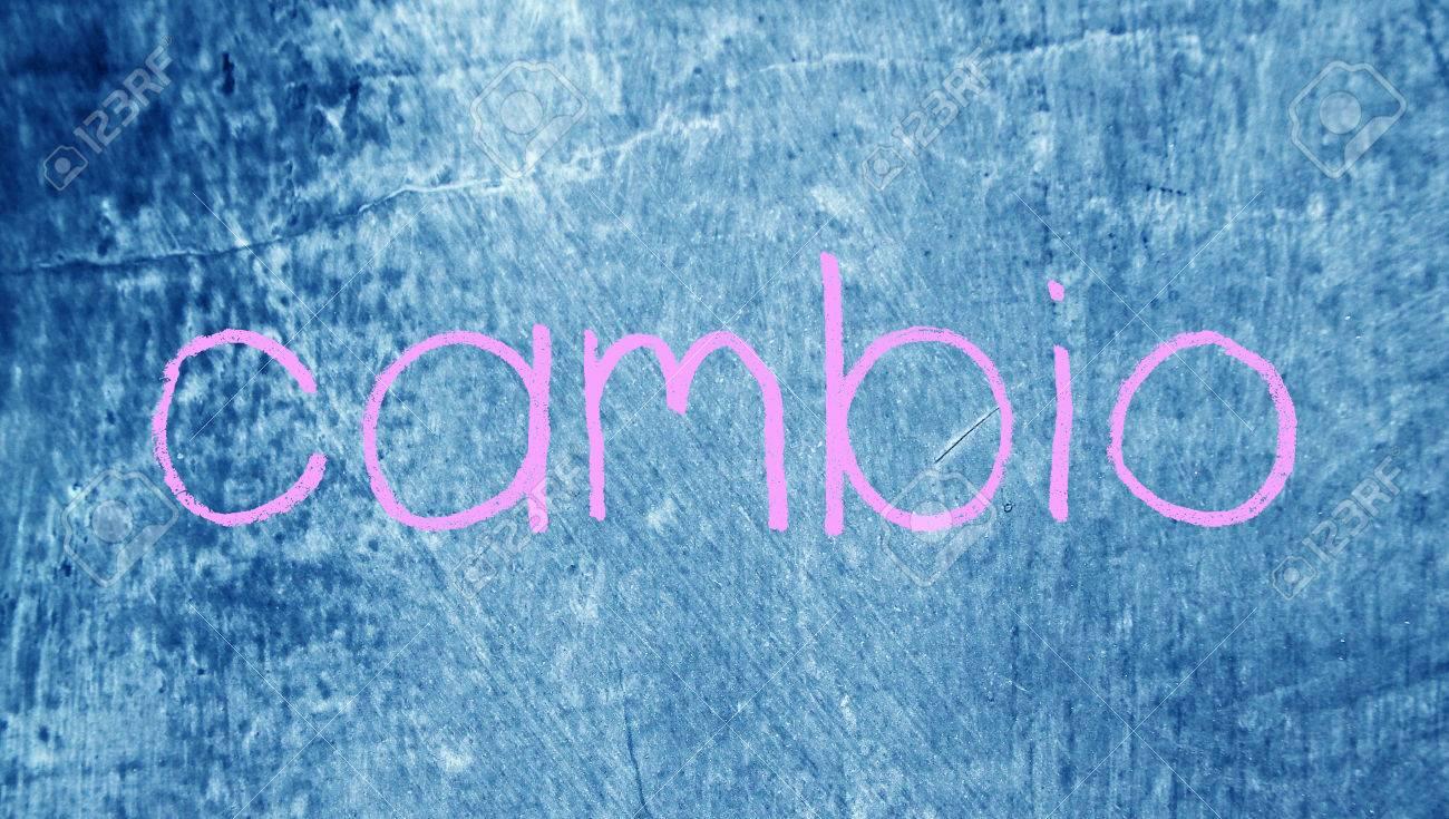 Cambio Change Spanish Word On Chalk Blue Board Background Fotos ...