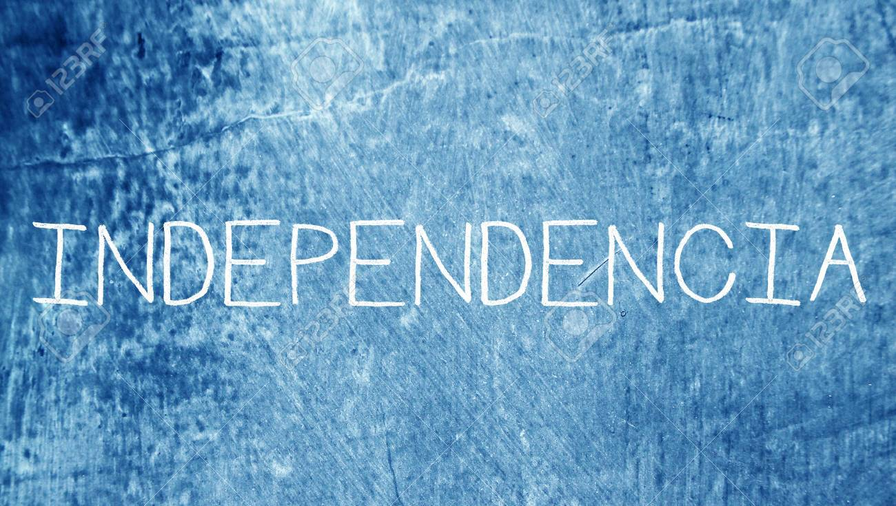 Independence Word Of Spanish Class Blue Grunge Chalkboard Background Stock Photo