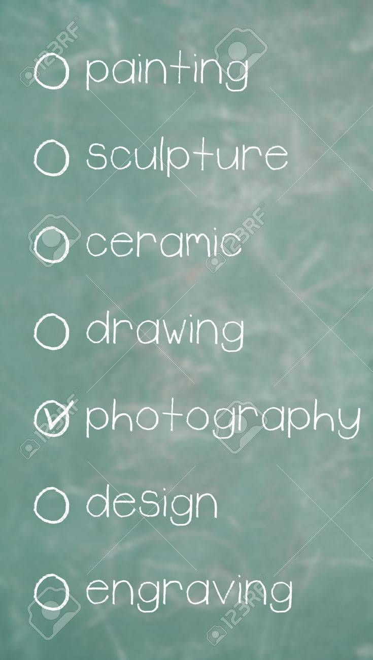 Photography option of artistic options words list