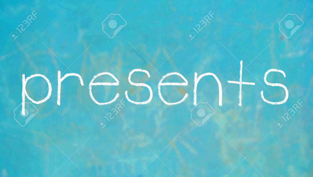 presents word on blue chalkboard stock photo picture and royalty